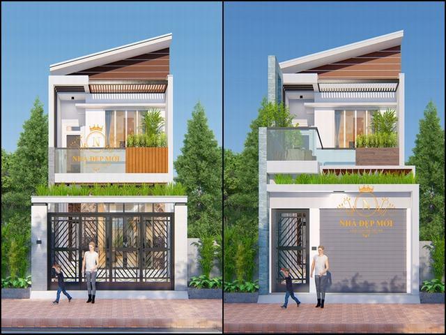 Mẫu nhà trệt lầu đơn giản mà đẹp 2021