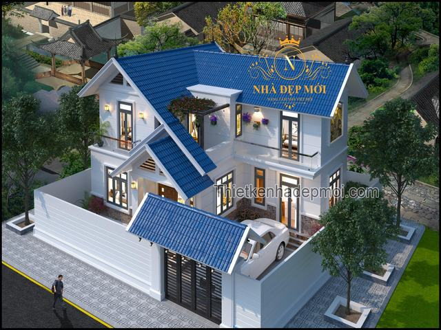Thiết kế nhà 3 gian 2 tầng 4 phòng ngủ