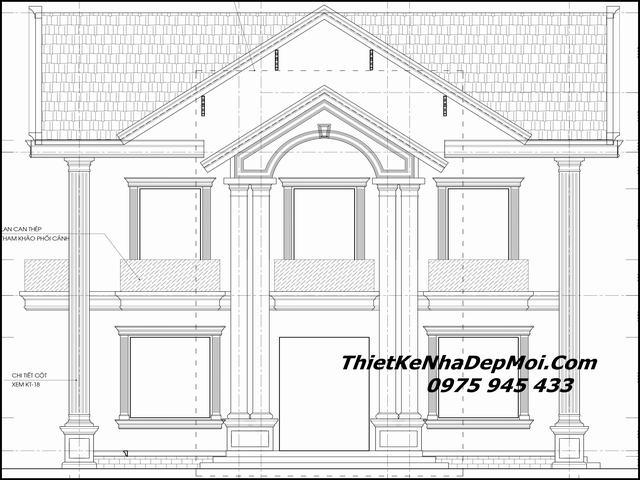 Mẫu biệt thự mini 3 gian 2 tầng cổ