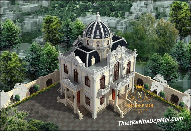 Thiết kế lâu đài 2 tầng 1 tum 150m2