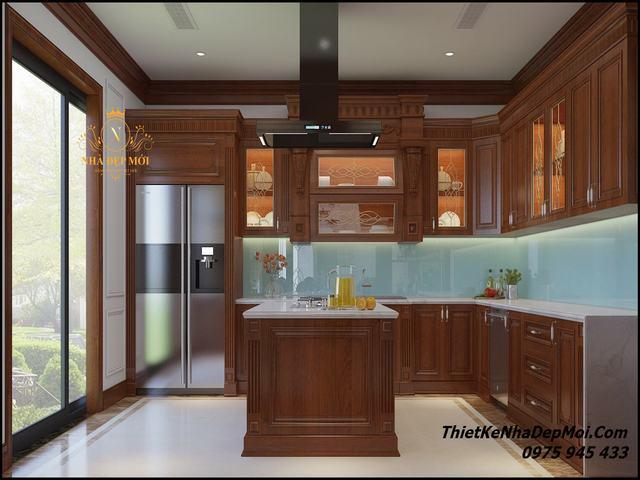 Bếp gỗ hình chữ l của biệt thự đẹp