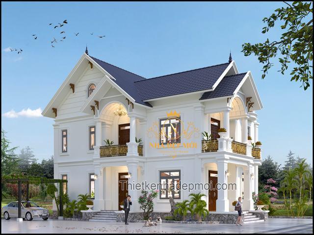 Bản vẽ biệt thự mái thái 1 trệt 1 lầu đẹp nhất Việt nam
