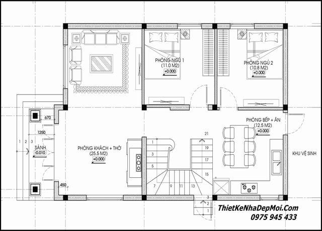 Bản vẽ nhà hai tầng 4 phòng ngủ