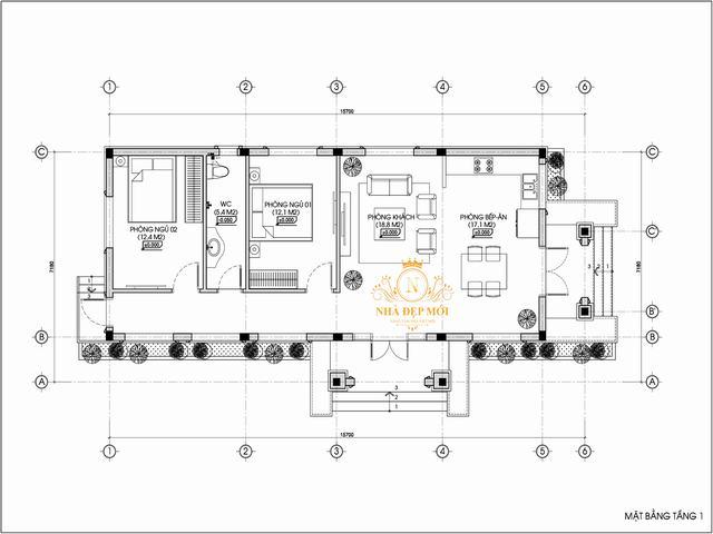 Bản vẽ nhà cấp 4 2 phòng ngủ 100m2
