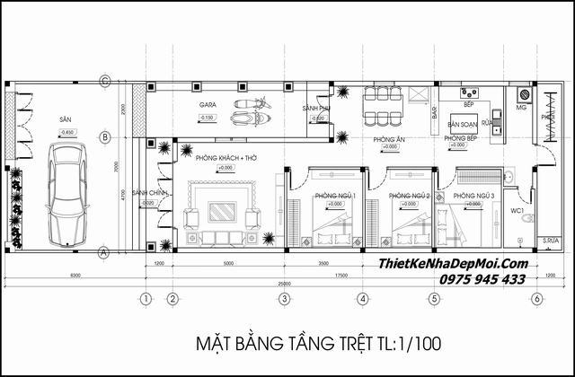 Mặt bằng kiến trúc nhà 1 tầng 7x18