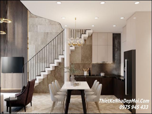 Cầu thang phòng khách nhà gác lửng