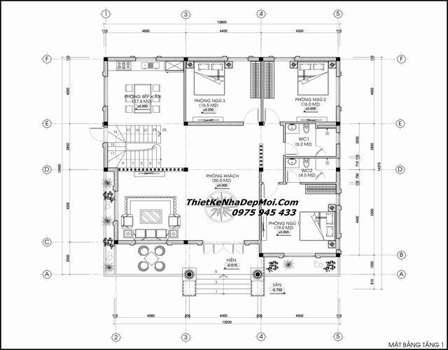 Mặt bằng kiểu nhà có tầng lửng 13x15