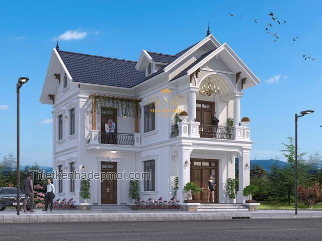 Nhà 2 tầng chữ L mái thái 2021