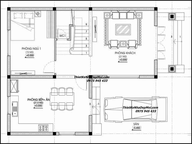 Bản vẽ nhà một trệt một lầu 9x13m