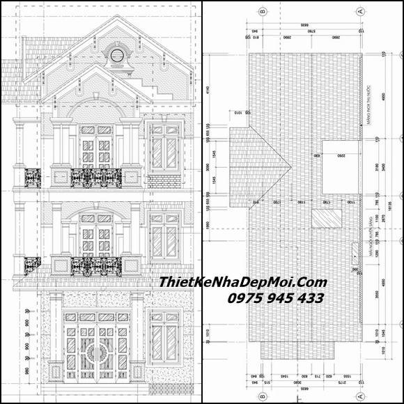 Bản vẽ nhà phố 2 mặt tiền 3 tầng mái thái