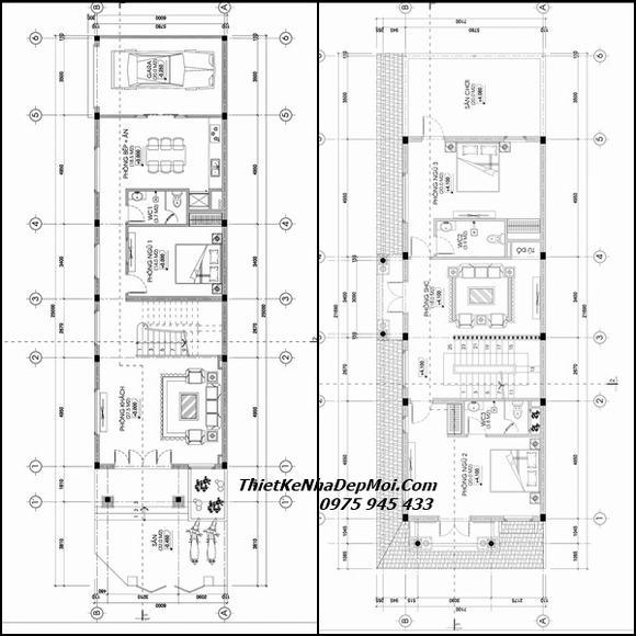 Thiết kế nhà lô góc 2 mặt tiền 6x20