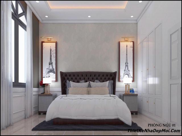 Thiết kế nội thất nhà trệt 3 gian gam màu nhẹ nhàng