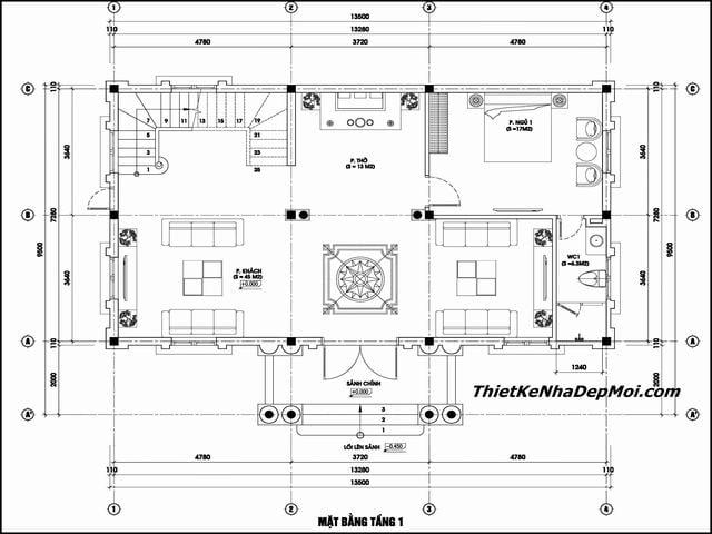 Bản vẽ biệt thự 3 gian 2 tầng ngang 14x10