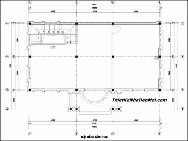Bản vẽ tầng áp mái biệt thự kiểu pháp 2021