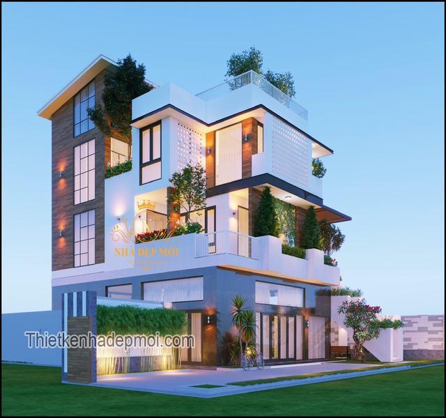 Mẫu nhà 3 tầng biệt thự ở nông thôn 2021