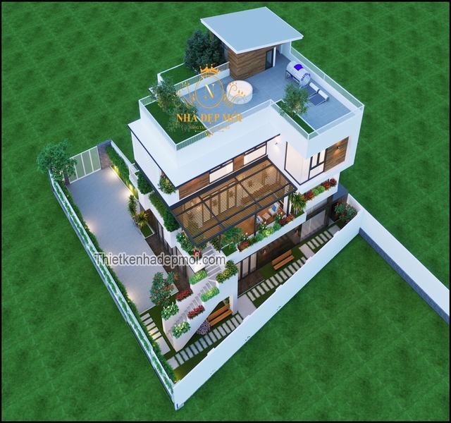 Biệt thự vườn 2 tầng 5 phòng ngủ hiện đại