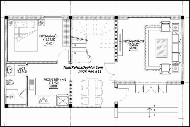 Tư vấn thiết kế nhà mặt tiền 6m 2 tầng