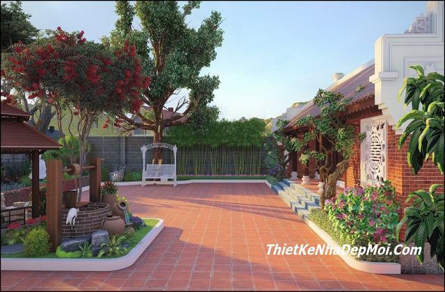 Cảnh quan sân vườn nhà 5 gian