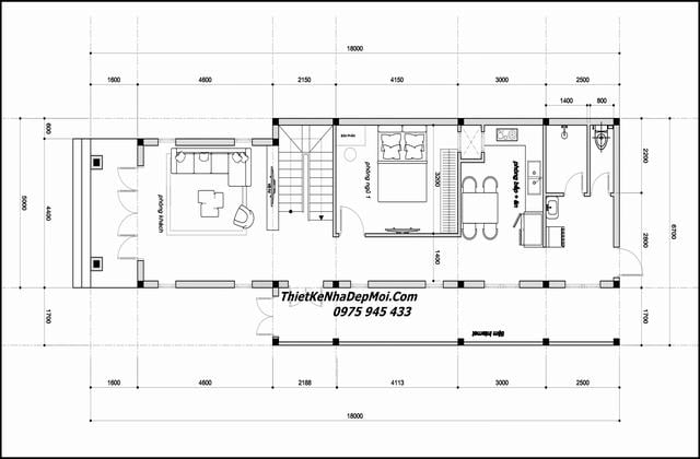 Mặt bằng nhà cấp 4 có tầng lầu rộng 7m