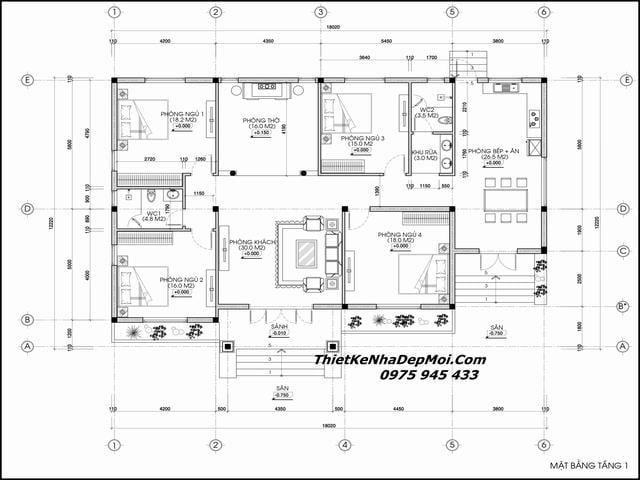 Bản vẽ nhà 1 tầng 4 phòng ngủ hướng Nam