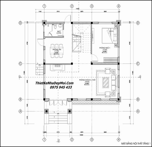 Mặt bằng nhà 2 tầng 12x11