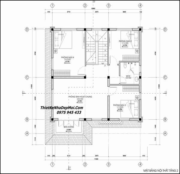 Thiết kế nhà 2 tầng 4 phòng ngủ ở quê nông thôn