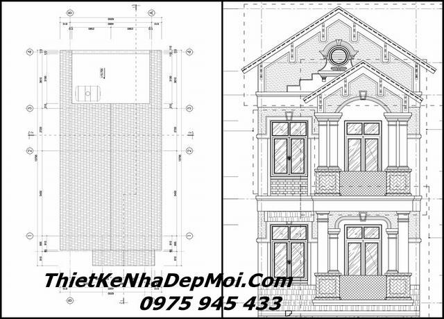 Thiết kế nhà đẹp 3 tầng mái thái hiện đại 5x14 2021