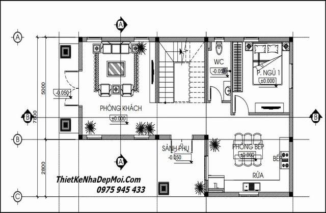 Bản vẽ xây nhà 2 tầng 2 tầng 8x12 3 phòng ngủ