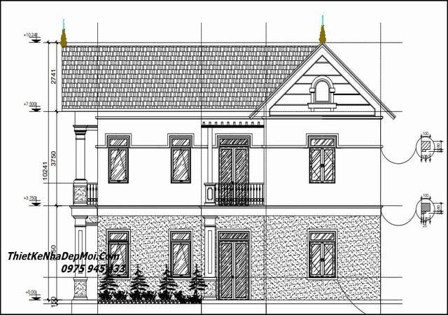 Bản vẽ nhà góc 2 tầng mái thái hai mặt tiền