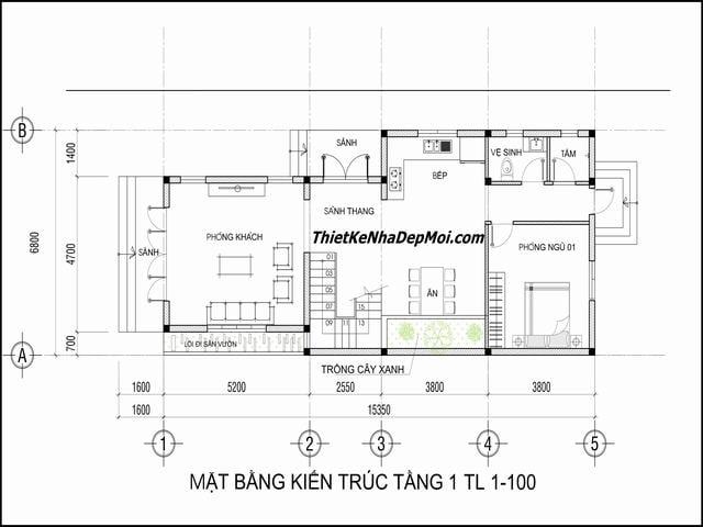 Bản thiết kế nhà ngang 7m 2 tầng mái thái