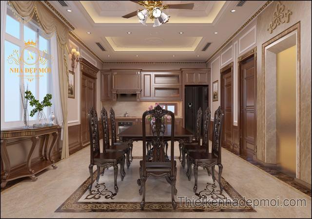 Phòng ăn gỗ biệt thự đẹp 2021
