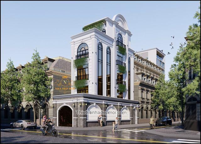 Kiến trúc nhà phố kinh doanh 5m 4 tầng đẹp