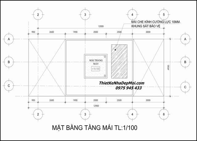 Bản vẽ nhà 5x17 4 tầng 1 tum 2021