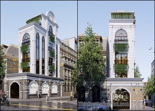 Mẫu nhà phố 4 tầng kiểu châu âu 5x17