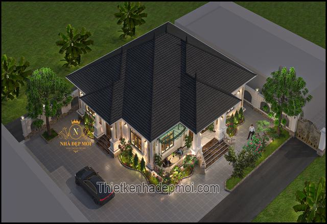Nhà mái ngói 1 tầng đẹp ở quê 180m2