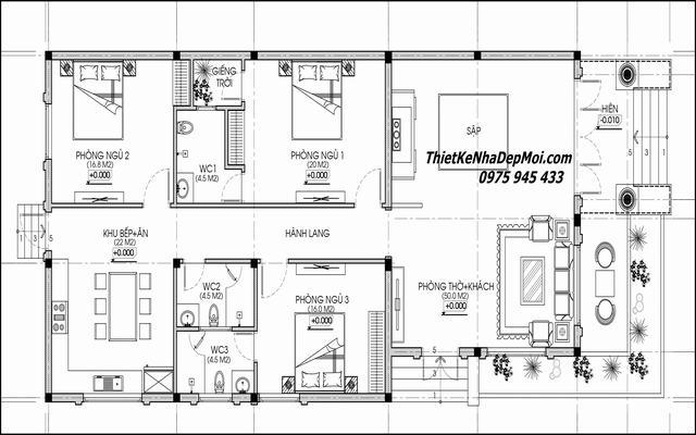 Mặt bằng nhà cấp 4 3 phòng ngủ 1 phòng thờ 10x20