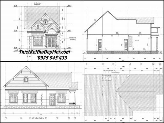 Bản vẽ thiết kế nhà vườn cấp 4 3 phòng ngủ