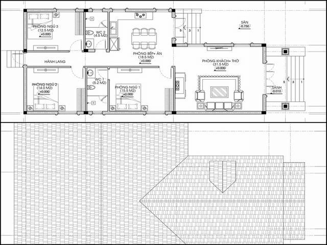 Mặt bằng nhà cấp 4 8x20 3 phòng ngủ