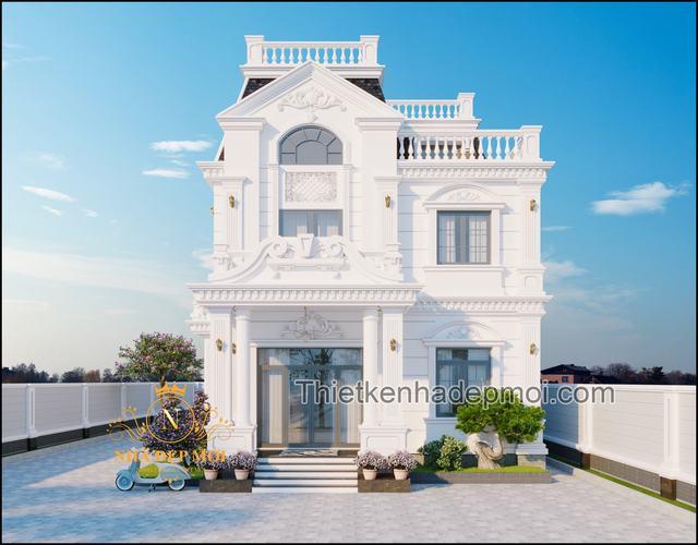 Thiết kế biệt thự 2 tầng kiểu Pháp 10m