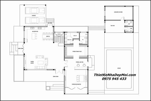 Thiết kế nhà biệt thự 2 tầng mái bằng 2021
