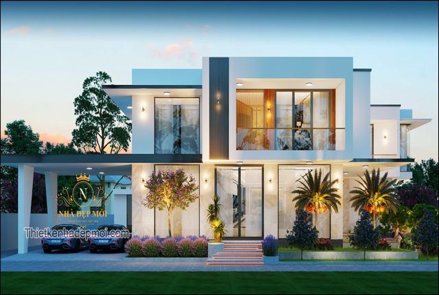 Nhà nóc bằng 2 tầng đẹp