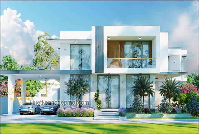 Mẫu biệt thự mái bằng 2 tầng đẹp nhất 2021