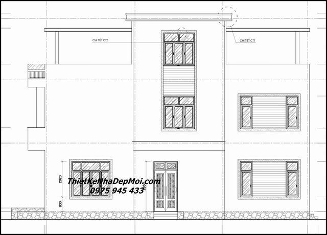 Bản vẽ xây dựng nhà 2 tầng 100m2