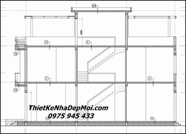 Bản vẽ kiến trúc nhà ống 2 tầng đẹp 2021