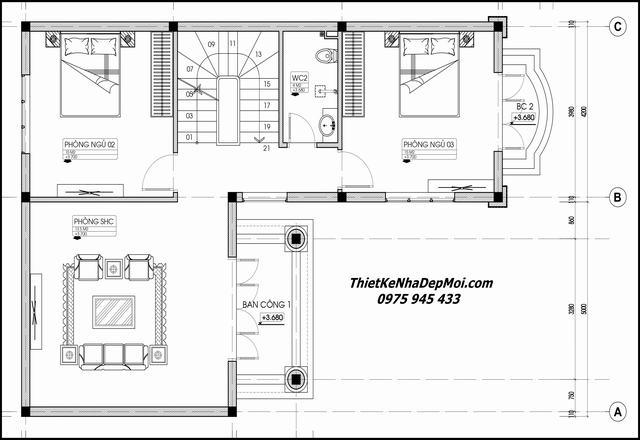 Bản vẽ biệt thự mini 3 tầng 9x13m