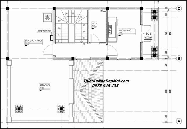 Thiết kế nhà ngang 9m 3 tầng chữ L