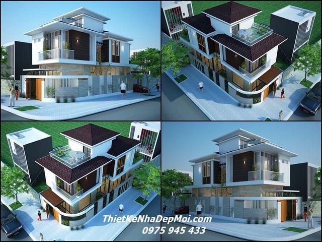 Hình ảnh nhà 2 mặt tiền vát góc 2 3 tầng đẹp