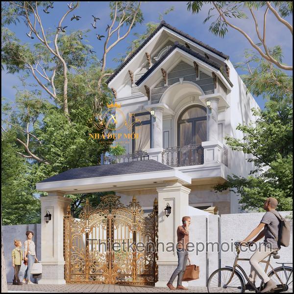 Thiết kế cổng rào nhà ống một trệt một lầu đồng nhất với công trình chính