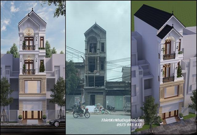 Hình ảnh thiết kế sửa nhà trọn gói 2.5 tầng lên 3.5 tầng 1 trệt 1 lửng 2 lầu cả nội thất trọn gói nhà phố anh Hưng