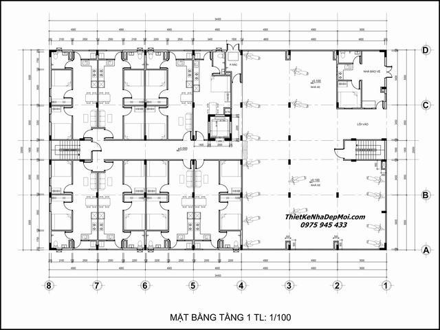 Bản vẽ mặt bằng mẫu căn hộ mini cho thuê 5 tầng